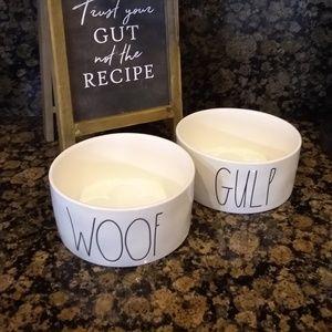 New Rae Dunn Woof Gulp Dog Bowls